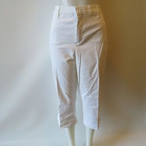 NYDJ WHITE STRETCH LIFT TUCK CHINO CAPRI PANTS 16W